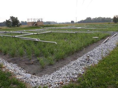 Vue d'une lagune terminée avec diffuseurs d'effluents inox, matériaux drainants et roseaux